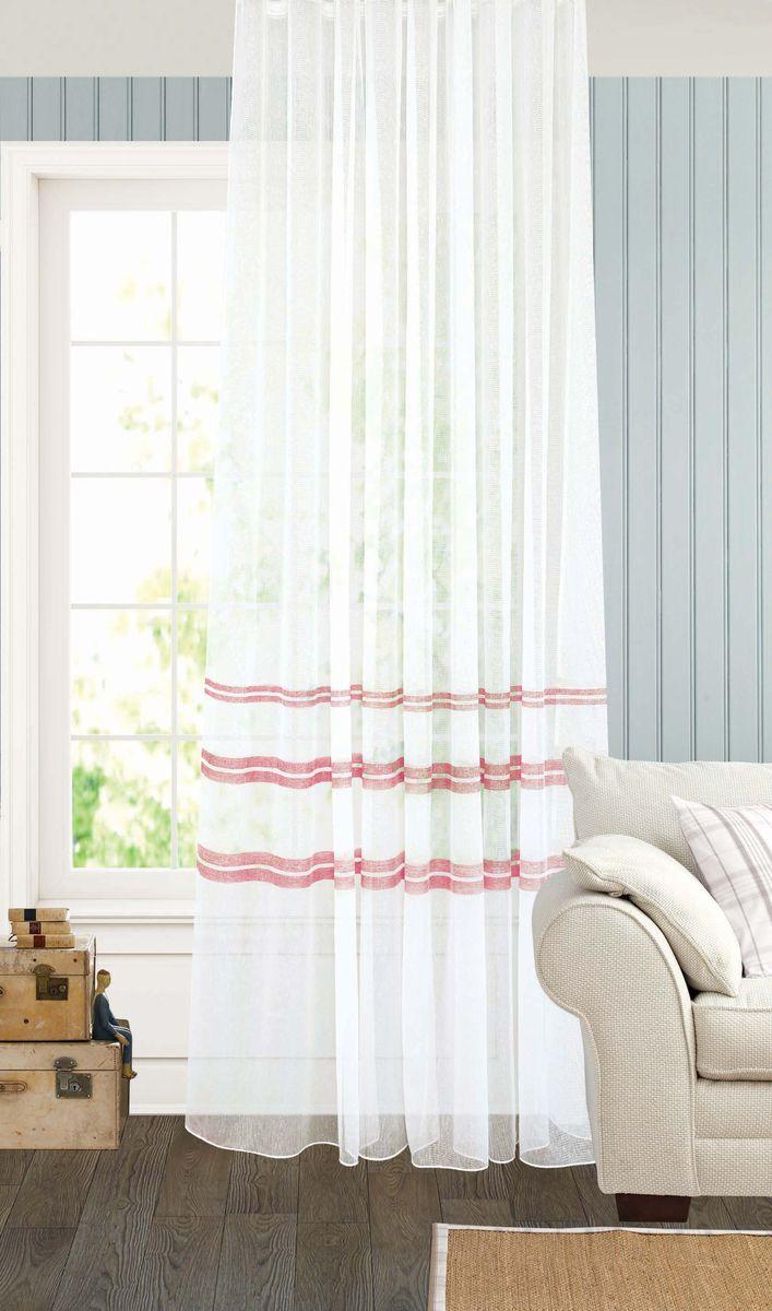 Штора Garden, на ленте, цвет: розовый, высота 260 см. С W2531 V7С W2531 V7Тюлевая штора, выполнена из высококачественной сетчатой ткани белого цвета с полосой розового цвета. Полупрозрачная ткань, хорошо подойдет для солнечной комнаты. Штора оснащена шторной лентой.