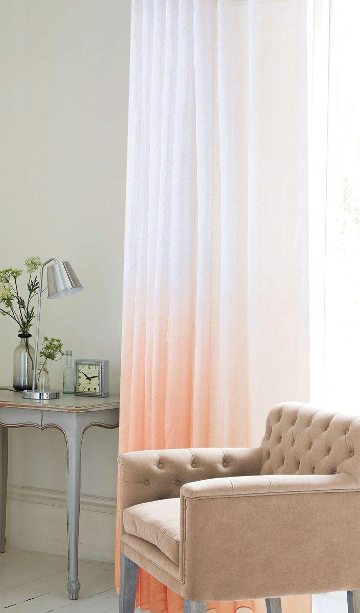 Штора Garden, на ленте, цвет: оранжевый, высота 260 см. С 1287-W2529 V53C1287W2529V53Тюлевая штора выполненная из тонкой полупрозрачной ткани, имитация льна с эффектом радуги и растительным рисунком. Подходит под любой интерьер. Штора крепится на карниз при помощи шторной ленты, которая поможет красиво и равномерно задрапировать верх.