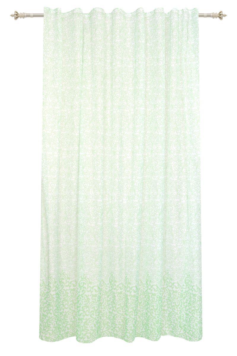 Штора Garden, на ленте, цвет: белый, высота 260 см. С 1434-W191 V6С 1434 - W191 V6Тюлевая штора из вуали белого цвета с узором и изящной каймой салатового цвета. Тонкая, прозрачная ткань создаст ощущение легкости. Штора крепится на карниз при помощи шторной ленты, которая поможет красиво и равномерно задрапировать верх.