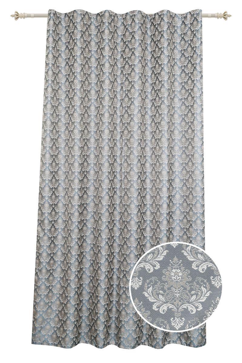 Штора Garden, на ленте, цвет: золотисто-бирюзовый, высота 260 см. С 537643 V11С 537643 V11Штора для гостиной, выполнена из жаккарда с рисунком вензель золотисто-бирюзового цвета. Высокая прочность и износоустойчивость используемых тканей надолго сохранят первоначальный вид изделия. Приятная текстура и цвет штор привлекут к себе внимание и органично впишутся в интерьер помещения. Штора крепится на карниз при помощи ленты, которая поможет красиво и равномерно задрапировать верх.