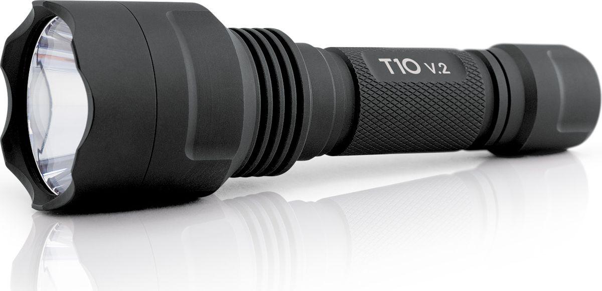Фонарь Яркий луч T10 v.2, цвет: черный4606400105688Компактный универсальный фонарь, работающий от Li-Ion аккумулятора 18650 (в комплекте).Особенности• Нейтральный светодиод XP-G2, 5000К• Световой поток: 400 люменов• Дальность 315 метров по стандарту ANSI• Режимы: 100%, 30%, 5%, без памяти.• Аккумулятор 2200 мАч и зарядное устройство входят в комплект.Элементы питанияФонарь работает на Li-Ion аккумуляторе формата 18650, разрешенный диапазон питания 3.0-4.2В. Рекомендуется использовать качественные защищенные аккумуляторы от проверенных производителей.Использование двух батареек CR123A или аккумуляторов RCR123 запрещено!Управление фонаряДля включения фонаря нажмите на кнопку до щелчка. Фонарь стартует на сильном режиме яркости.Для смены режима на включенном фонаре слегка нажмите кнопку.Также возможно переключения режимов быстрым включением-выключением фонаря.Для увеличения времени работы переведите фонарь в средний или слабый режимы яркости.Заметное уменьшение яркости в сильном режиме свидетельствует о приближении аккумулятора к разряду, рекомендуется зарядить его.Для предотвращения случайного нажатия отверните заднюю крышку фонаря на 1/4 оборота.