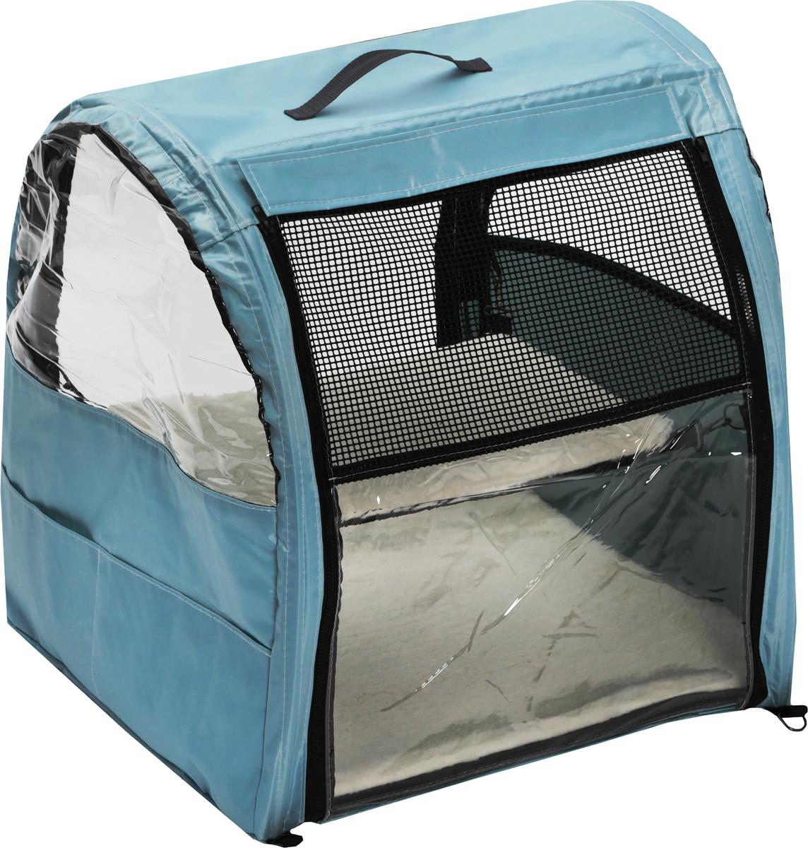 Клетка-палатка для животных Заря-Плюс, выставочная, с чехлом, цвет: нежно-голубой, 51 х 58 х 55 смКВП1нгПалатки для выставок Заря-Плюс продуманы таким образом, чтобы вам было максимально удобно участвовать в выставках: - палатка имеет полукруглую форму за счет встроенного каркаса из дуг;- собирается круговым движением легко и просто; на выставке вы самостоятельно соберете и разберете палатку за считанные минуты;- лицевая сторона палатки выполнена из пленки, которая может полностью отстегиваться;- обратная сторона палатки выполнена наполовину из сетки, наполовину из пленки; также может полностью отстегиваться;- боковые стенки выполнены наполовину из пленки, благодаря чему палатка становится очень светлой.И вы сможете в максимально выгодном свете представить на выставке своих питомцев.- с двух сторон палатки имеются вместительные карманы, куда вы можете положить все необходимое для участия в выставке;- в собранном виде палатка довольно компактна, при хранении занимает мало места;- палатка переносится в чехле, который входит в комплект;- для удобной переноски чехол имеет короткую и длинную ручки; чехол имеет один большой карман на молнии; В комплект входит меховой матрац и гамак.