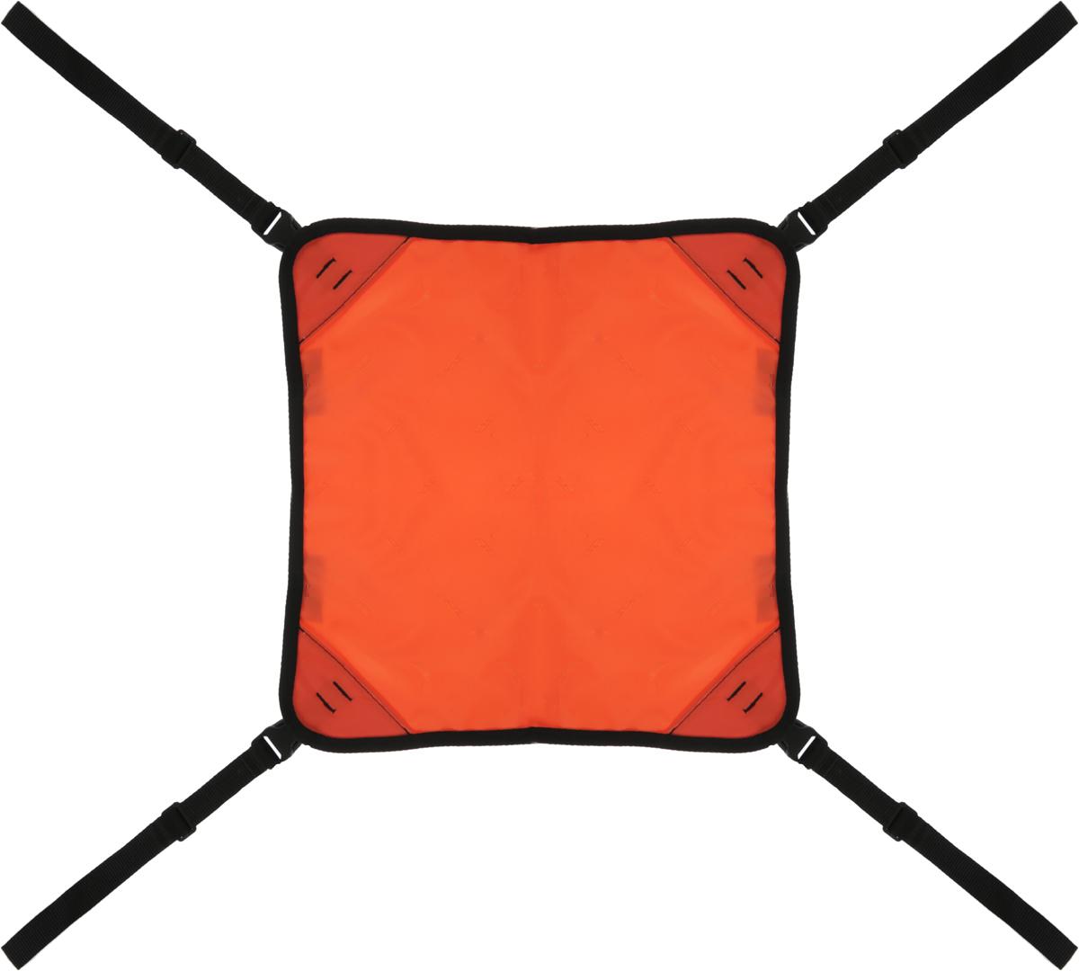 Гамак Заря-Плюс, для выставочных клеток и палаток, цвет: оранжевый, черный, 48 х 54 смГвоГамак подвесной Заря-Плюс - это необходимый аксессуар, если вы хотите рационально использовать небольшую площадь выставочной палатки и представляете на выставке несколько кошек или кошку с котятами. Гамак легко и просто крепится в любых выставочных палатках, которые собираются с помощью трубок. При необходимости вы также легко можете снять гамак. Высота регулируется.