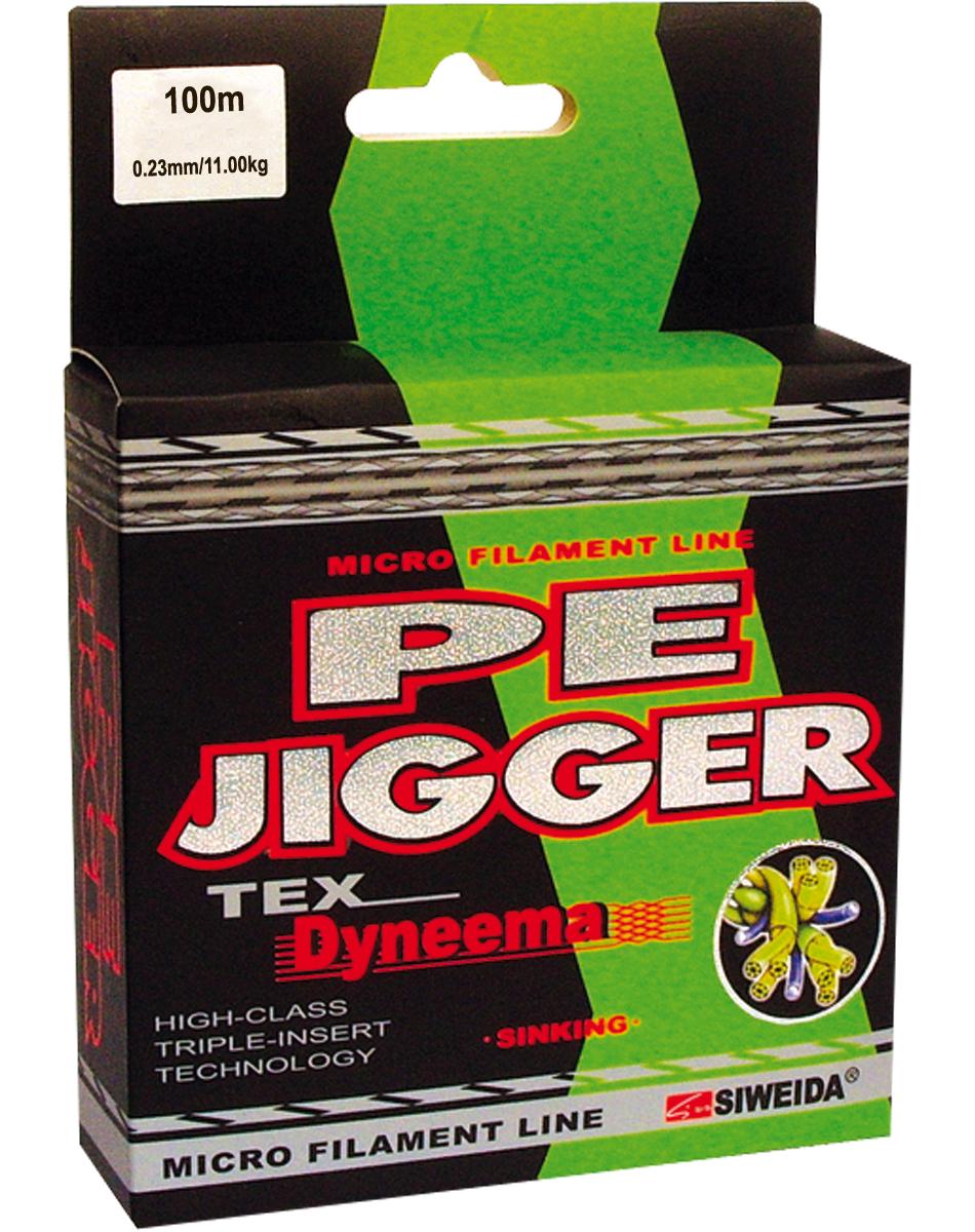 Шнур плетеный SWD Pe Jigger, цвет: зеленый, длина 100 м, сечение 0,23 мм, нагрузка 11 кг13-12-17-227Плетеный шнур, изготовленный из волокна DYNEEMA, сечением 0,23мм (разрывная нагрузка 11,00кг) и длиной 100м. Благодаря микроволокнам полиэтилена (Super PE) шнур имеет очень плотное плетение, не впитывает воду, имеет гладкую поверхность и одинаковое сечение по всей длине. Отличается практически нулевой растяжимостью, что позволяет полностью контролировать спиннинговую приманку. Идеален для всех видов ловли. Цвет - зеленый.