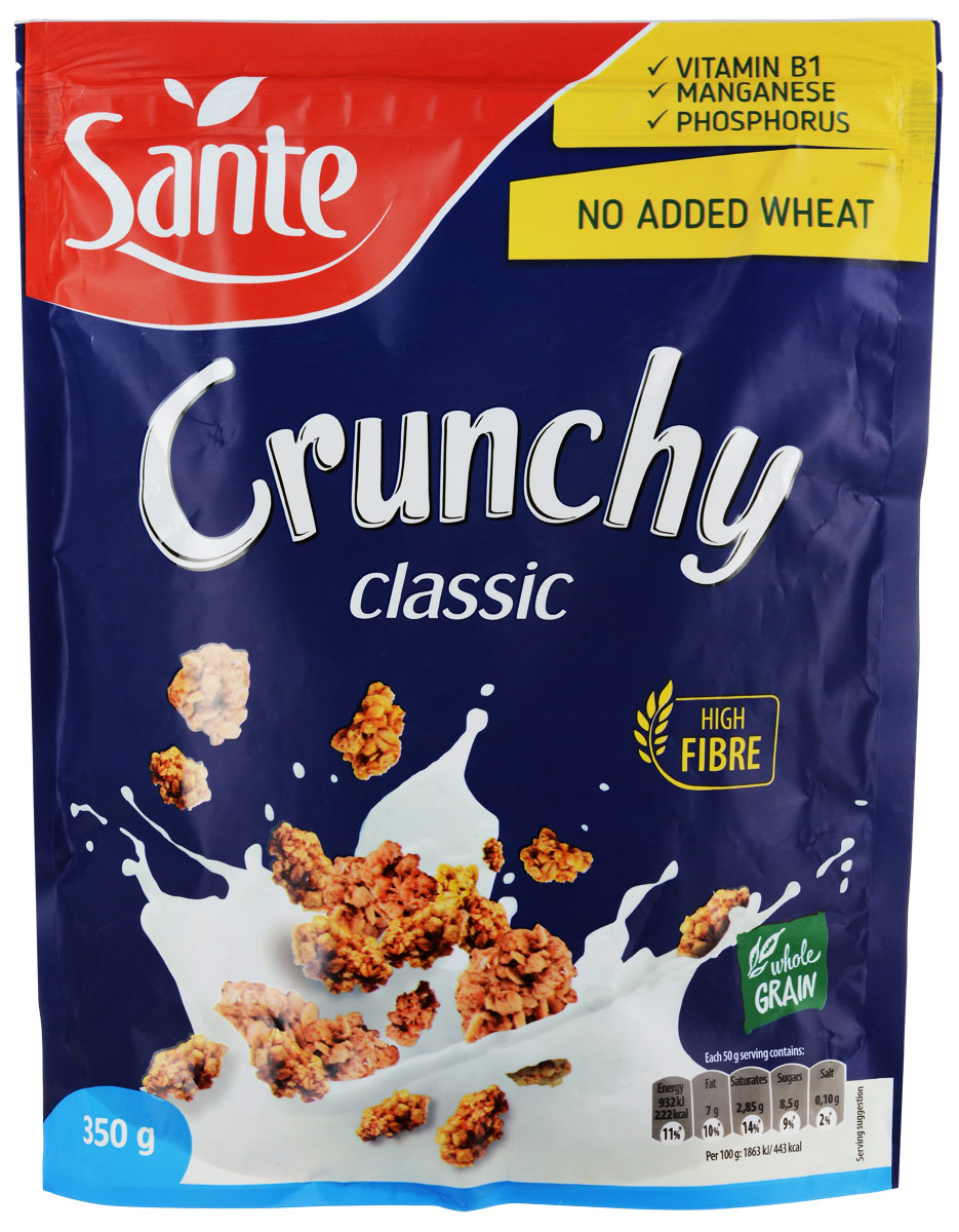Sante Crunchy хрустящие овсяные хлопья классические, 350 г5900617002228Хрустящие овсяные хлопья Sante Crunchy - питательная смесь хрустящих, золотистых, нежно обжаренных овсяных хлопьев.Продукт обеспечивает сбалансированное питание за счет полезных ингредиентов: белок, клетчатка, растительные жиры с высоким содержанием полезных жирных кислот, витаминов, микро- и макроэлементов, которые помогают поддерживать энергию и тонус в течение всего дня.Основной элемент Crunchy - это цельнозерновой овес, который имеет более высокую питательную ценность по сравнению с другими злаками, такими как пшеница и рожь.Зерно овса богато белком, незаменимыми аминокислотами (особенно лизином, который отсутствует в других зерновых). Содержание фосфора, меди и фолиевой кислоты способствуют укреплению костей и зубов. Медь также улучшает процесс обмена веществ. А фолиевая кислота способствует правильному функционированию иммунной системы.Уважаемые клиенты! Обращаем ваше внимание, что полный перечень состава продукта представлен на дополнительном изображении.