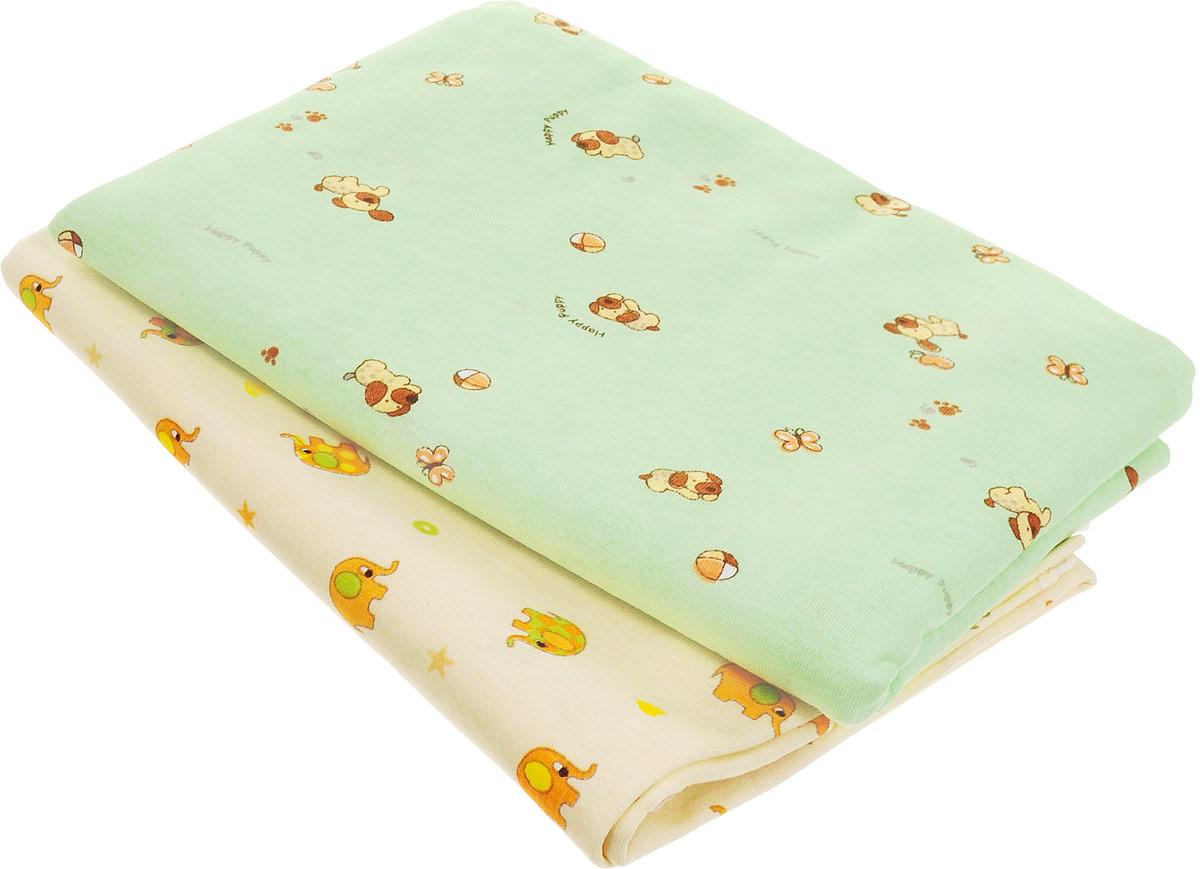Фреш Стайл Комплект пеленок цвет желтый зеленый 90 х 130 см 2 шт -  Подгузники и пеленки