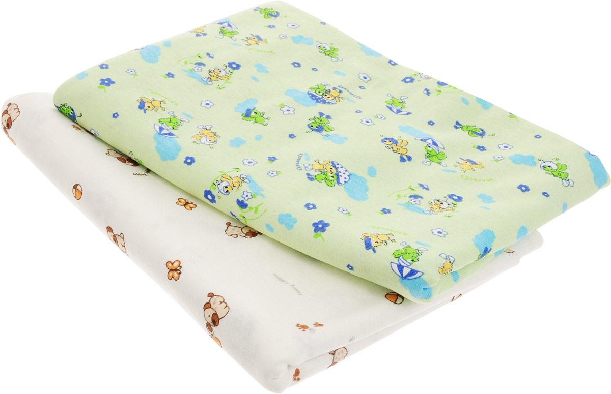 Фреш Стайл Комплект пеленок цвет молочный зеленый 90 х 130 см 2 шт -  Подгузники и пеленки
