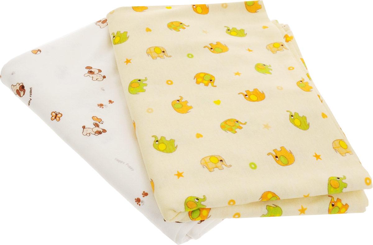 Фреш Стайл Комплект пеленок цвет желтый молочный 90 х 130 см 2 шт -  Подгузники и пеленки