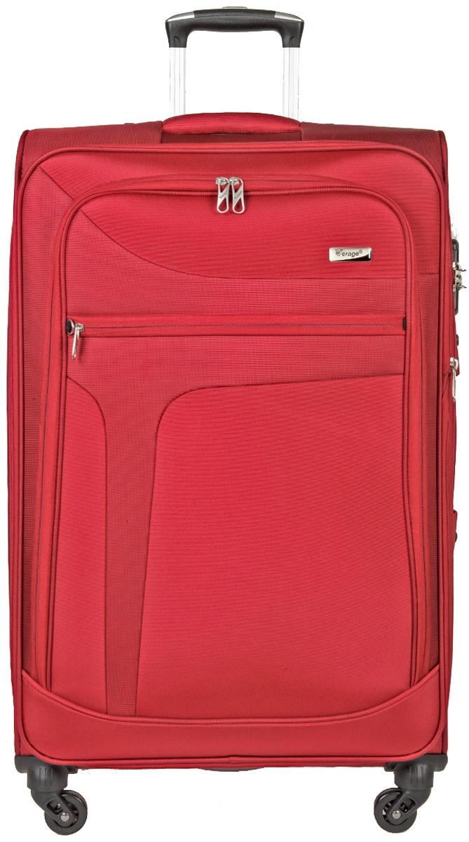 Чемодан-тележка Verage, цвет: красный, 106 л. GM14086w28GM14086w28 redзакрывается по периметру на двухстороннюю молниюоснащён верхней ручкой, четырьмя колесиками 360°внутри один отдел для одеждыодин сетчатый карман на молнииодна техническая молния с бегункомснаружи на передней стенке два карман на молниивозможность увеличения чемодана на 20% (за счет молнии)встроенный кодовый замок максимальная высота выдвижной ручки 34,5 смобъем 106 лвнутрений размер 75-47-30 смвес 4,16 кг