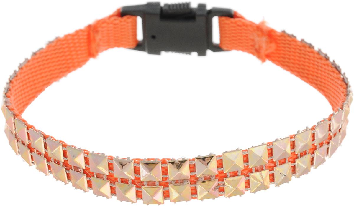 Ошейник для животных GLG Мини Стайл, цвет: оранжевый, ширина 1 см, длина 22 смOH16/A_оранжевыйОшейник для животных GLG Мини Стайл изготовлен из нейлона и снабжен пластиковой застежкой фастекс. Сверхпрочные нити делают ошейник надежным и долговечным. Ошейник отличается высоким качеством, удобством и универсальностью. Предназначен для собак мелких пород и кошек. Изделие дополнено оригинальными клепками.Обхват шеи: 22 см. Ширина ошейника: 1 см.