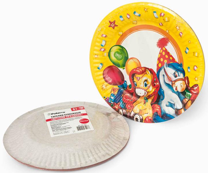 Набор тарелок Paterra Детский праздник, бумажные, диаметр 18 см, 6 шт401-472_желтыйТарелки Paterra Детский праздник предназначены для украшения и сервировки стола во время мероприятий дома, в офисе, на даче, на пикнике. Пригодны для горячих блюд. Тарелки прочные, благодаря качеству и высокой плотности используемой при их изготовлении бумаги.Диаметр тарелки: 18 см.Количество в упаковке: 6 шт.