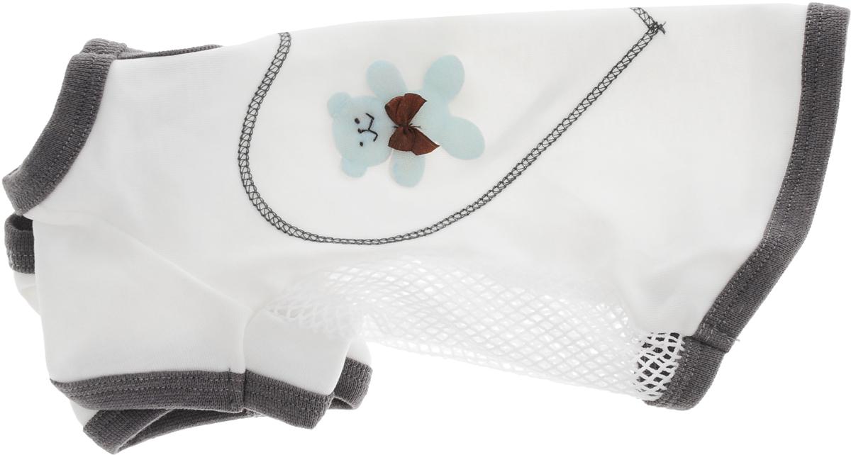 Майка для собак Pret-a-Pet 3 Д картинки, цвет: белый, серый. Размер MMOS-012-M_белый, серыйМайка для собак Pret-a-Pet 3 Д картинки выполнена из высококачественного материала с сеткой. Короткие рукава не ограничивают свободу движений, и собачка будет чувствовать себя в ней комфортно. Изделие застегивается с помощью кнопки на шее.Майка оформлена декоративными объемными аппликациями. Модная и невероятно удобная трикотажная майка защитит вашего питомца от пыли и насекомых на улице, согреет дома или на даче.