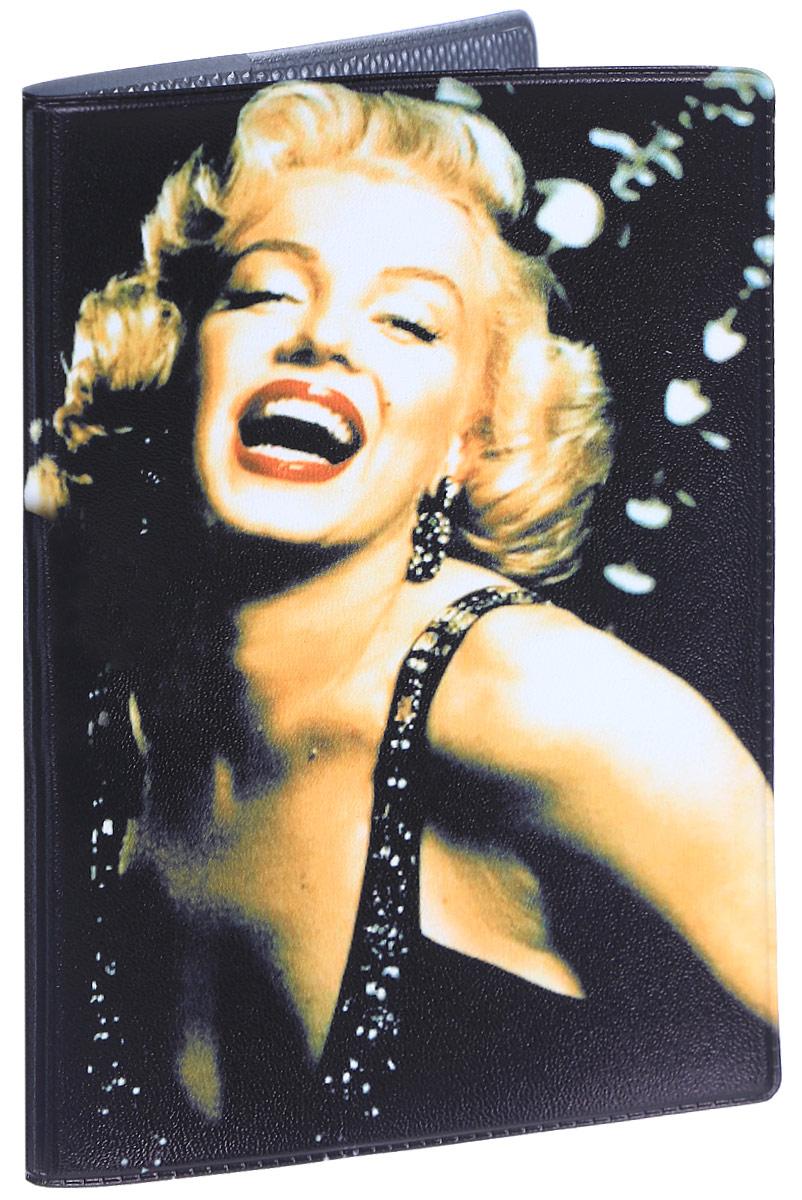 Обложка для паспорта женская Mitya Veselkov Монро смеется, цвет: черный. OZAM037 обложка для паспорта монро уорхол
