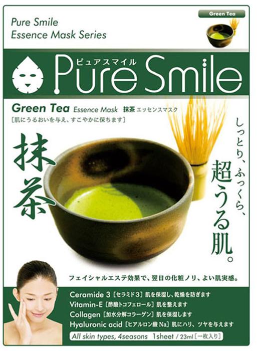 Pure Smile Essence Mask Увлажняющая маска для лица с эссенцией японского зеленого чая, 23 мл egf essence mask