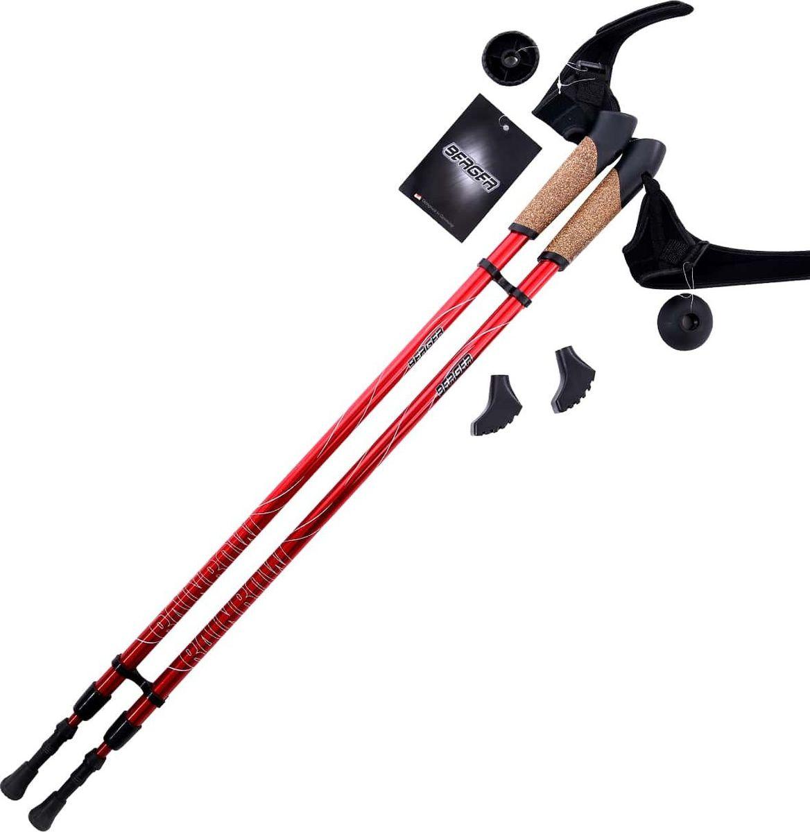 Палки для скандинавской ходьбы Berger  Rainbow , двухсекционные, цвет: красный, 86-140 см - Скандинавская ходьба