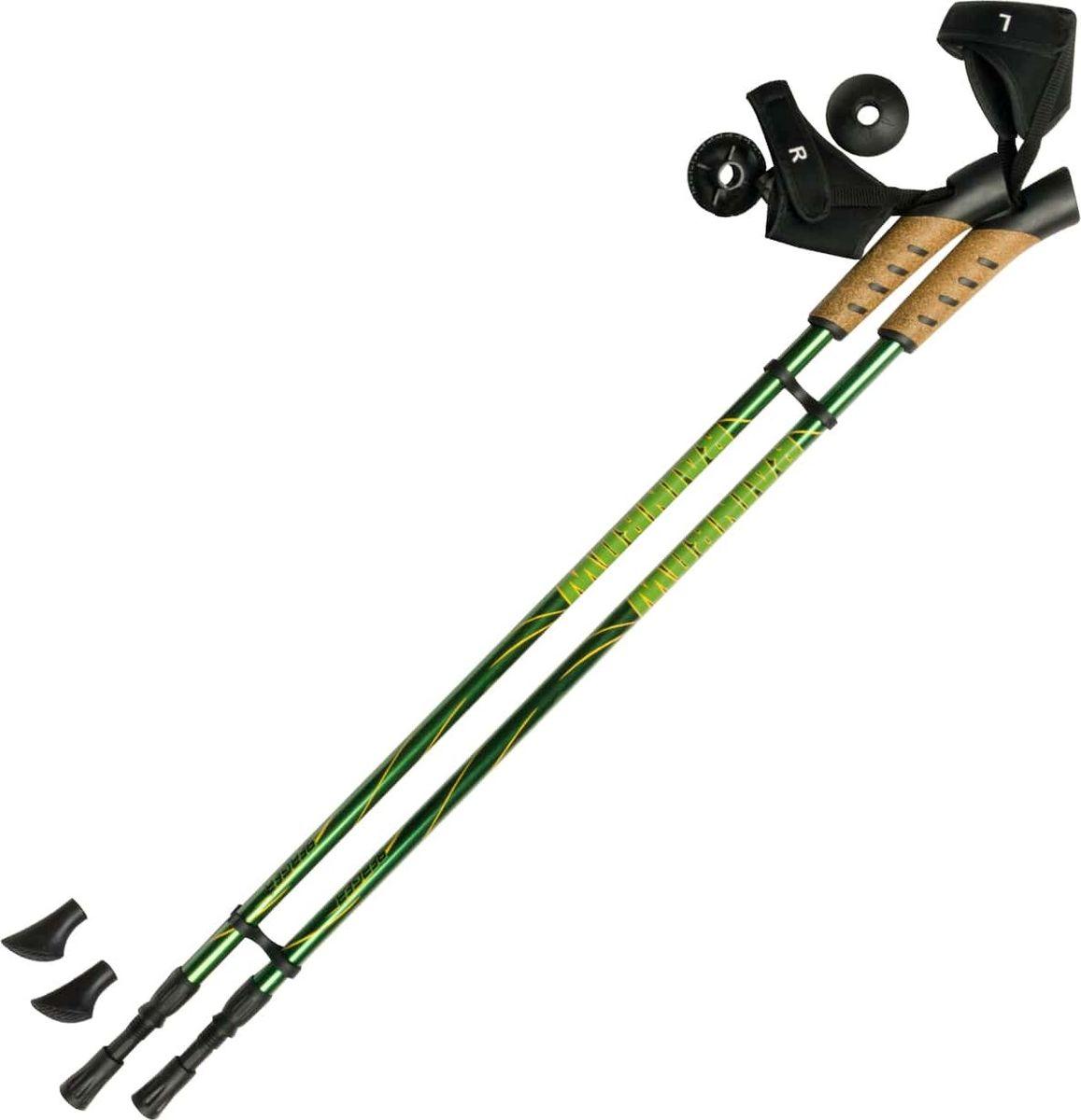 Палки для скандинавской ходьбы Berger Rainbow, двухсекционные, цвет: зеленый, желтый, 83-135 смУТ-00009611Палки для скандинавской ходьбы Rainbow - это 2-х секционные палки для занятий скандинавской ходьбой от бренда Berger, благодаря которым развиваются мышцы тела и тренируется выносливость. Основные характеристики: Назначение: для ходьбы по асфальту, земл