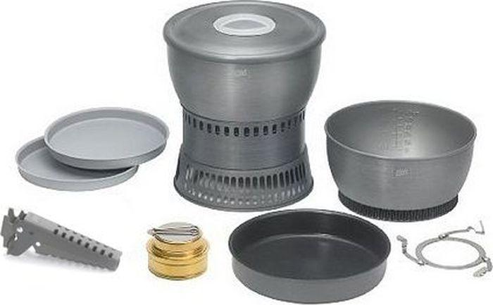Набор для приготовления пищи Esbit, со спиртовкой, 11 предметовCS2350WNУдобный набор для приготовления пищи. Радиаторы на внешней стороне дна кастрюль уменьшают время приготовления блюд и затраты энергии. Посуда в наборе компактно складывается. Специальная складная ручка на горелке позволяет регулировать интенсивность пламени и выключать горелку. Кастрюли, сковорода с антипригарным покрытием, ветрозащита, подставка, держатель, крышка изготовлены из жесткого анодированного алюминия, а горелка изготовлена из латуни. В набор входит: Кастрюля 1800 млКастрюля 2350 млСковорода с многослойным антипригарным покрытиемПодставка для сковородыКрышкаСпиртовая горелкаВетрозащита2 тарелкиДержательОсобенности: Кастрюли с радиаторами на внешней стороне днаКомпактный размер в сложенном состоянииШкала объема на внутренней стенке кастрюлиМешочек из сеткиТехнические характеристики: Размер в сложенном состоянии: 128 х 202 ммВес: 1075 гОбъем: 1800 мл и 2350 млДиаметр сковороды: 185 мм