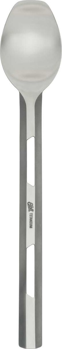 Ложка удлиненная Esbit, 21,5 cмLSP222-TIХорошая ложка — это предмет, который обязательно стоит взять с собою, отправляясь на природу. Она обязательно пригодится как туристам, так и рыбакам, охотникам и просто отдыхающим, которые едут на пикник. Esbit — это практичная, удобная и очень прочная ложка, изготовленная из титанового сплава. По размеру, она соответствует столовой. Ручка такой ложки удлиненная и полный размер столового прибора составляет 22,7 см. Ширина ложки равна 4,1 см. При таких размерах, весит она всего лишь 18 грамм, что также немаловажно для предмета, который придется носить с собою в рюкзаке или сумке. Среди неоспоримых достоинств ложки Esbit — инертность ее материала к взаимодействию с пищевыми продуктами. Другими словами, она не вступает ни в какие реакции и совершенно безопасна для здоровья пользователя. Кроме того, титан легко переносит высокие температуры и отличается высокой прочностью. Особенности: ложка с удлиненной ручкой;полная длина равна 22,7 см;ширина ложки — 4,1 см;ложка весит 18 грамм;используемый материал — титан.