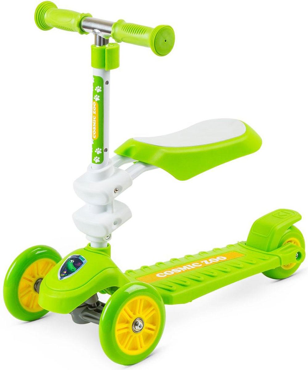 Самокат Small Rider Zoo Galaxy Seat, 3-колесный, с сиденьем, цвет: зеленый1148731Cosmic Zoo Galaxy Seat - это потрясающая новинка, объединяющая в себе и трехколесный самокат, и каталку. Самокат Космик Зоо Гэлакси Сит предназначен для широкого возрастного диапазона: для детей 1,5 до 5 лет! Уже от 1,5 лет можно кататься на Гэлакси Сит в режиме каталки. Для этого нужно установить сиденье в одном из двух уровней высоты.Сиденье - широкое, мягкое, на котором приятно и комфортно сидеть ребенку. Оно надежно зафиксировано и выдерживает вес седока до 20 кг.После того как малыш освоится, можно снять сиденье и использовать его в режиме полноценного трехколесного самоката. Этот трехколесный самокат управляется с помощью наклонов и помогает развить ребенку чувство равновесия и баланса. Для того чтобы повернуть нужно перенести вес тела в одну из сторон. Детям это очень нравится, и они быстро овладевают этой техникой. Некоторые начинают кататься совсем рано - уже в год и восемь месяцев они во всю рулят на своем транспорте. Самокат имеет большую, широкую платформу, на которую удобно ставить одну или даже обе ноги. Задний тормоз - массивный, в него легко попасть ногой. Для большей грузоподъемности и надежности сзади идет также утолщенное колесо из каучука. Отрегулируйте оптимальную высоту ручки, которая будет идеально подходить для ребенка. Кстати, рукоятки у самоката имеют эргономичную форму и легко обхватываются детскими ручками. На передней части самоката идет фирменная наклейка с персонажем Cosmic Zoo - динозавриком, медвежонком, тигренком или волком. Вместе с ярким дизайном это создаст ощущение игры и хорошее настроение.