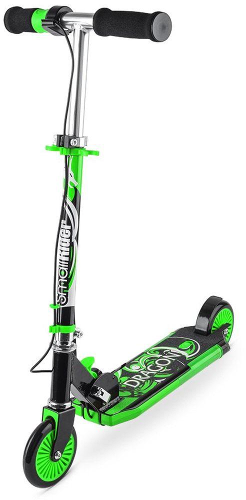 Самокат детский Small Rider Dragon, с дымом, звуком, светом, цвет: зеленый1154421Small Rider Dragon (Смолл Райдер Дракон) - это невероятный по современным возможностям развлекательный двухколесный самокат для детей от 3 до 10 лет. Невероятная привлекательность самоката в том, у него есть рукоятка-акселератор, при кручении которой самокат выпускает сзади платформы водяной дым, загораются фонари и звучит рев мотора. За все это отвечают обычные пальчиковые батарейки, которые потом легко и быстро заменяются (они не идут в комплекте). Прямо в центре платформы самоката отверстие, через которое пополняется резервуар для воды. Вы можете залить в него обычную воды из под крана. Далее, с помощью водяного охлаждения вода превращается в безопасный пар и как настоящий дым мотоцикла идет через выхлопную трубу. Водяной пар абсолютно безопасен, им нельзя обжечься или получить какую-либо травму. Он не содержит вредных веществ, потому что его основа - обычная чистая вода. Это настоящий огнедышащий дракон, на котором будет летать ваш ребенок! Самокат становится не просто тренажером или средством передвижения.Детское воображение превратит рутинное катание в парке или сквере в игру, а самокат создаст для окружающих настоящее шоу. Равнодушных точно не будет! Учитывая такие необычные свойства вы приятно удивите своих детей или детей друзей, подарив Small Rider Dragon. Они будут в восторге, а вы проявите себя человеком, дарящим интересные, чудесные подарки.