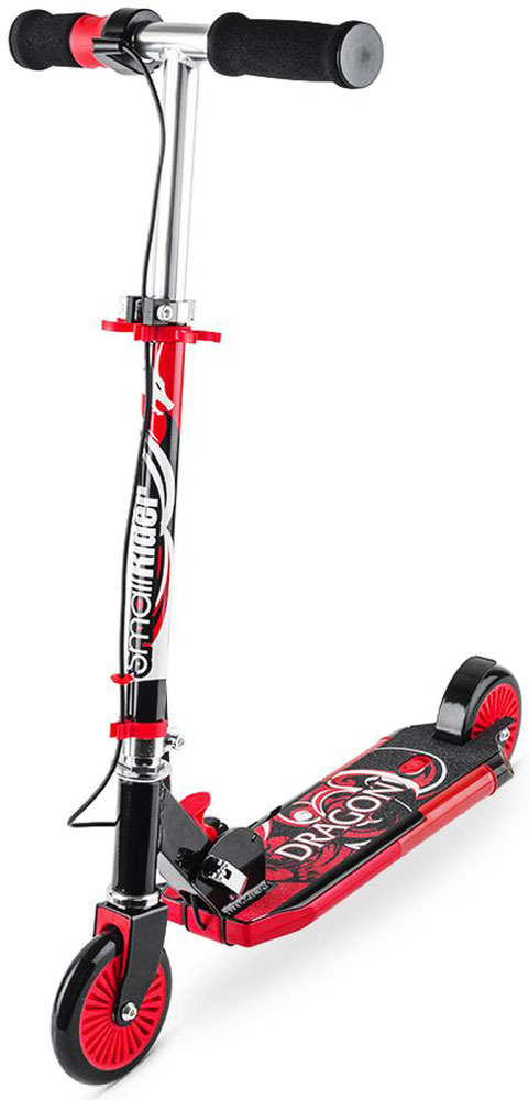 Самокат детский Small Rider Dragon, с дымом, звуком, светом, цвет: красный1154426Small Rider Dragon (Смолл Райдер Дракон) - это невероятный по современным возможностям развлекательный двухколесный самокат для детей от 3 до 10 лет. Невероятная привлекательность самоката в том, у него есть рукоятка-акселератор, при кручении которой самокат выпускает сзади платформы водяной дым, загораются фонари и звучит рев мотора. За все это отвечают обычные пальчиковые батарейки, которые потом легко и быстро заменяются (они не идут в комплекте). Прямо в центре платформы самоката отверстие, через которое пополняется резервуар для воды. Вы можете залить в него обычную воды из под крана. Далее, с помощью водяного охлаждения вода превращается в безопасный пар и как настоящий дым мотоцикла идет через выхлопную трубу. Водяной пар абсолютно безопасен, им нельзя обжечься или получить какую-либо травму. Он не содержит вредных веществ, потому что его основа - обычная чистая вода. Это настоящий огнедышащий дракон, на котором будет летать ваш ребенок! Самокат становится не просто тренажером или средством передвижения.Детское воображение превратит рутинное катание в парке или сквере в игру, а самокат создаст для окружающих настоящее шоу. Равнодушных точно не будет! Учитывая такие необычные свойства вы приятно удивите своих детей или детей друзей, подарив Small Rider Dragon. Они будут в восторге, а вы проявите себя человеком, дарящим интересные, чудесные подарки.