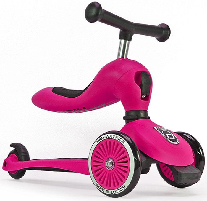 Самокат детский Scoot&Ride HighwayKick 1. Seat, 3-колесный, с сиденьем, цвет: розовый1186532Австрийская компания Scoot&Ride (Скут энд Райд), уже неоднократно побеждавшая в крупнейшей выставке ISPO (проходит в Германии) представляет новую разработку:Highway Kick 1 (Хайвэй Кик 1) = самокат-каталку-балансир.В данном инновационном продукте слились многие преимущества: стильный и современный европейский дизайн, функциональность, качественные материалы, безопасность.Highway Kick получил сертификат соответствия европейской безопасности EN71 и прошел множество международных тестов на качество.Ключевое отличие Хайвэй фрик от других самокатов с сиденьем:Сиденье не нужно куда-то убирать или носить в руках!Оно переворачивается вверх и становится частью рулевой колонки самоката, а рукоятки отщелкиваются и устанавливаются в верхнюю часть сиденья, что добавляет ему необычного, эффектного дизайна и сразу выделяет среди многих других.Такой вид рулевой колонки - уникален и очень зрелищно смотрится.Полноценный трехколесный самокат для детей от 1 года.Это первый трехколесный самокат для детей от одного года (в режиме каталки)!Без специального инструмента он превращается из каталки-балансира в самокат!Хайвэй Кик имеет самое низкое расстояние между полом и сиденьем, подходящее для детей от 12 месяцев. Это всего лишь 22,5 см. Чтобы переключиться из самоката в режим каталки нужно отжать спереди черный рычажок и повернуть рулевую колонкуПервое знакомство с самокатом возможно уже с 12 месяцев в форме каталки. Самокат трансформируется с помощью простого механизма в каталку и малыш, расположившись на сиденье отталкивается ножками, держась за руль.У Хайвэй фрик есть три положения высоты сиденья (и ручки самоката).Форма сиденья невероятно удобная, оно имеет достаточный размер и мягкую накладку.Максимальная нагрузка на сиденье имеет большой запас и достигает 20 кг. Самокат тестировался под нагрузкой с помощью специальных машин большое количество циклов. Самокат и каталка имеют модную систему пово