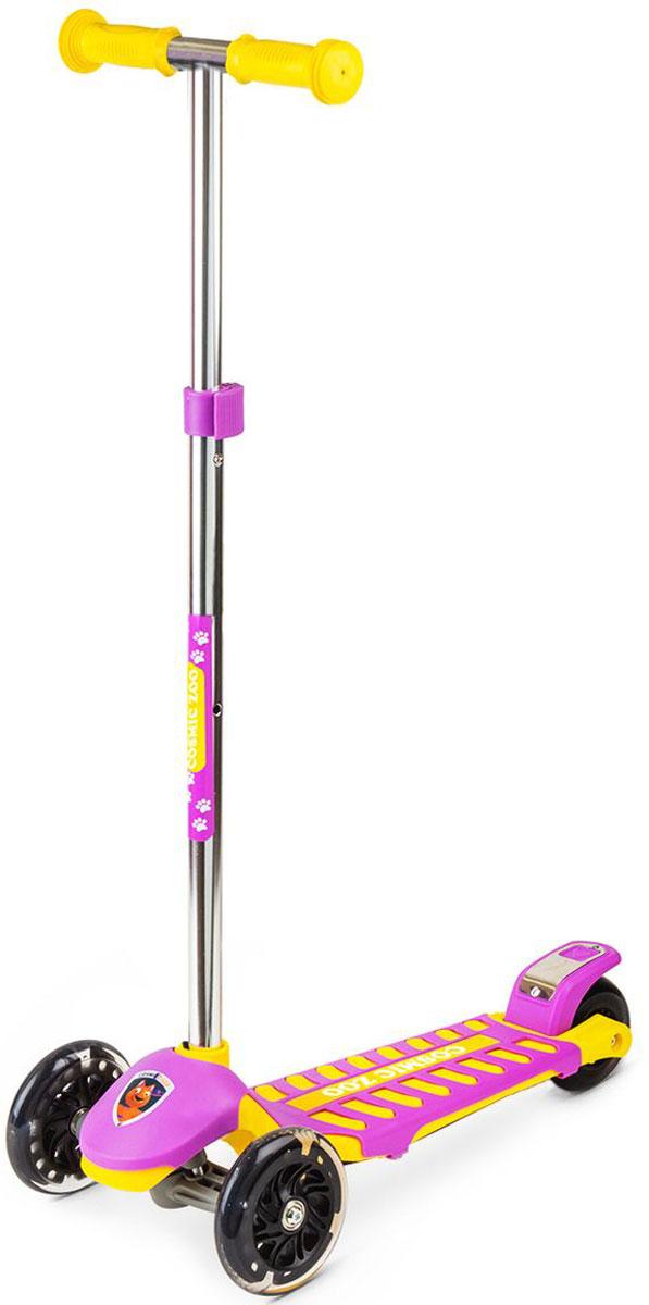 Самокат Small Rider Cosmic Zoo Galaxy Maxi, 3-колесный, с ручным тормозом, цвет: фиолетовый377533Трехколесный самокат Cosmic Zoo Galaxy Maxi с ручным тормозом - это детский трехколесный самокат, который проверен временем и протестирован многими российскими детишками, заслужив массу поклонников за более чем 2 года продаж.На этом великолепном самокате могут кататься дети с 2 до 6 лет, поскольку он имеет уникальное сочетание преимуществ: большую платформу, толстое заднее колесо и выдвижную ручку с широким диапазоном регулировки. Самокат Смолл Райдер Гэлакси идет в тренде, и имеет надежные и эффектные PU (полиуретановые) колеса с цветными светодиодиками, которые начинают эффектно смотреться темное время дня. Теперь и ручной тормоз! В новой поставке Cosmic Zoo Galaxy у самоката также сделан ручной тормоз. Это же очень удобно! Можно тормозить и ногой и рукой. Если ребенок мал и ручной тормоз пока не нужен - его легко можно снять и установить потом. Широкий возрастной диапазон - самокат создан для детей от 2 до 7 лет! Самокат подойдет и малышам от 2-х лет и даже школьнику! Благодаря широкой платформе, утолщенному заднему колесу и телескопической выдвижной ручке, которая регулируется в 3-х положениях (максимальное - 82 см, минимальное - 65 см). При все при этом самокат не тяжелый и ребенок в 2 года может легко с ним обращаться. Почему качественный трехколесный самокат должен быть скучным? Чтобы развеселить вашего малыша и превратить катание в веселую игру были созданы волшебные персонажи с планеты Мегарион - динозаврик, тигренок, волк и медвежонок. Cosmic Zoo - это подразделение марки Small Rider для малышей. Задача была сделать красивый, качественный, надежный, функциональный трехколесный самокат.Колеса имеют прозрачную оболочку и черные диски, что делает их не просто заметными вечером, но и красивыми для глаз днем. Самокат имеет современный поворотный механизм и качественные подшипники, которые позволяют делать различные маневры и пируэты, когда ребенок переносит массу св