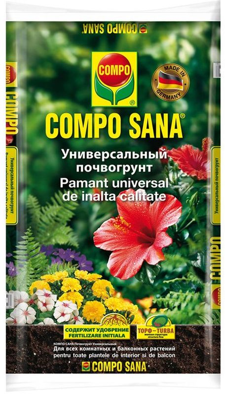 Почвогрунт универсальный Compo Сана, 20 л1114204066Универсальный питательный грунт, составлен в соответствии с агротехническими нормами, содержит сбалансированный набор питательных веществ с микроэлементами для полноценного роста и развития растений. Применяется для цветочных, овощных, ягодных, плодовых культур и ландшафтного озеленения.