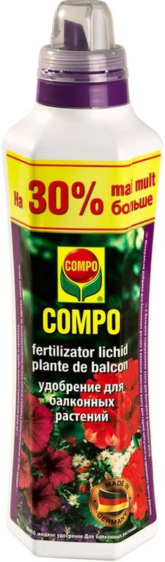 Удобрение для балконных растени Compo, 1,3 л1436712066Удобрение Compo для подкормки всех видов балконных растений. Обеспечит быстрый и здоровый рост, повысит устойчивость к болезням