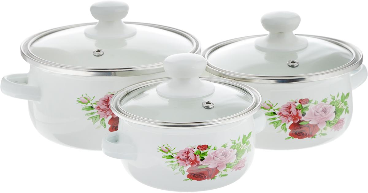 Набор посуды Mayer & Boch, 6 предметов. 2152721527-1_розовые розыНабор Mayer & Boch включает 3 эмалированные кастрюли, выполненные из углеродистой стали, и 3 крышки. Внешние стенки дополнены красочным цветочным изображением. Эмалированная посуда инертна и устойчива к пищевым кислотам, не вступает во взаимодействие с продуктами и не искажает их вкусовые качества. Эмалевое покрытие, являясь стекольной массой, не вызывает аллергию и надежно защищает пищу от контакта с металлом. Кроме того, такое покрытие долговечно, оно устойчиво к механическому воздействию, не царапается и не сходит, а стальная основа практически не подвержена механической деформации, благодаря чему срок эксплуатации увеличивается. Эмаль делает посуду сверкающей. Кастрюли оснащены стеклянными жаропрочными крышками с пластиковой ручкой, а также удобными и надежными боковыми ручками. Элегантный дизайн позволит такому набору отлично смотреться в разнообразных по стилю и интерьеру кухнях. Набор подходит для всех газовых, электрических, галогеновых, индукционных плит. Можно мытьпосудомоечной машине.Объем кастрюль: 500 мл, 750 мл, 1,25 л. Диаметр кастрюль: 12 см, 14 см, 16 см. Высота стенок кастрюль: 7 см, 7,5 см, 8 см. Ширина кастрюль (с учетом ручек): 15 см, 19 см, 21 см.