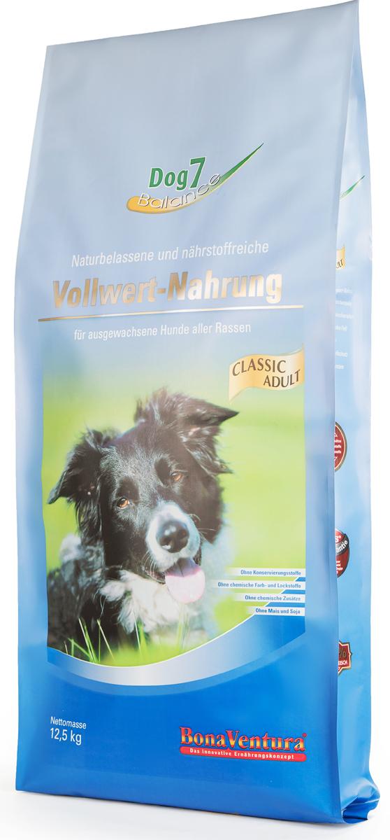 Корм сухой BonaVentura Dog 7 Adult для собак, сбалансированный, 12,5 кг205112Натуральный сбалансированный корм для собак BonaVentura Dog 7 Adult произведен из продуктов, пригодных в пищу человека по специальной технологии, схожей с технологией Sous Vide. Благодаря технологии при изготовлении сохраняются все натуральные витамины и минералы. Это достигается благодаря бережной обработке всех ингредиентов при температуре менее 80 градусов. Такая бережная обработка продуктов не стерилизует продуктовые компоненты. Благодаря этому корма не нуждаются ни в каких дополнительных вкусовых добавках и сохраняют все необходимые полезные вещества.При производстве кормов используются исключительно свежие натуральные продукты: мясо, овощи и зерновые; Приготовлено из 100% свежего мяса, пригодного в пищу человеку; Содержит натуральные витамины, аминокислоты, минеральные вещества и микроэлементы; С экстрактом масла зародышей зерна пшеницы холодного отжима (Bio-Dura); Без химических красителей, усилителей вкуса, искусственных консервантов и химических добавок; Без ГМО; Без мясокостной муки; Без сои.Товар сертифицирован.