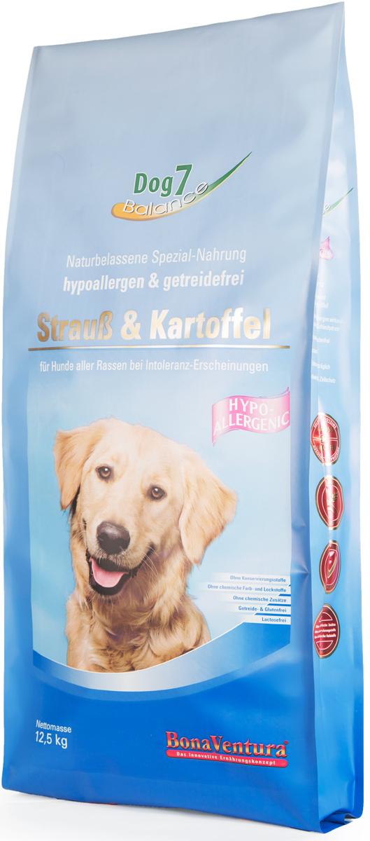Корм сухой BonaVentura Dog 7 Hipo Allergenic для собак, гипоаллергенный, со страусом и картофелем, 12,5 кг205712Корм сухой BonaVentura Dog 7 Hipo Allergenic - это натуральный гиппоаллергенный корм для собак. Корм произведен в Германии из продуктов, пригодных в пищу человека, по специальной технологии схожей с технологией Sous Vide. При изготовлении сохраняются все натуральные витамины и минералы. Это достигается благодаря бережной обработке всех ингредиентов при температуре менее 80°С. Такая бережная обработка продуктов не стерилизует продуктовые компоненты. Благодаря этому корма не нуждаются ни в каких дополнительных вкусовых добавках и сохраняют все необходимые полезные вещества. Особенности:- При производстве кормов используются исключительно свежие натуральные продукты: мясо, овощи и зерновые; - Приготовлено из 100% свежего мяса, пригодного в пищу человеку; - Содержит натуральные витамины, аминокислоты, минеральные вещества и микроэлементы; - С экстрактом масла зародышей зерна пшеницы холодного отжима (Bio-Dura); - Без химических красителей, усилителей вкуса, искусственных консервантов и химических добавок; - Без ГМО; - Без мясокостной муки; - Без сои.Состав: свежее мясо, печень, сердце страуса 75%, натуральный картофель 20%, пивные дрожжи, витамины и минералы.Пищевая ценность: Белки 22,2%, Жиры 7,9%, Клетчатка 3,8%, Зола 6,9%, Влажность 9,0%, Кальций 1,6%, Фосфор 0,9%, Витамин B1 3,0 мг/кг, Витамин B6 5,0 мг/кг, Витамин B12 35 мкг/кг, Биотин 320 мкг/кг, Железо 100 мг/кг, Медь 10,5 мг/кг, Селен 0,35 мг/кг.Товар сертифицирован.