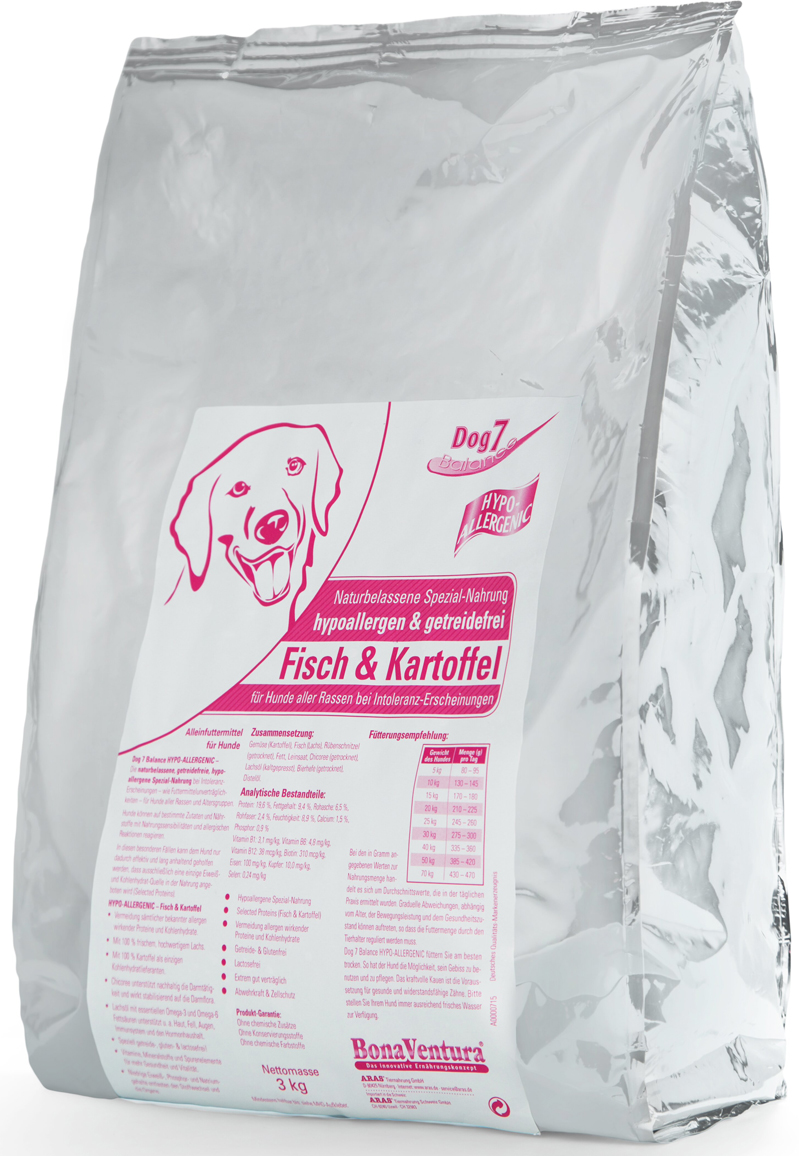 Корм сухой BonaVentura Dog 7 Hipo Allergenic для собак, гипоаллергенный, с рыбой и картофелем, 3 кг205603Натуральный гиппоалергенный корм для собак BonaVentura Dog 7 Hipo Allergenic произведен из продуктов, пригодных в пищу человека по специальной технологии, схожей с технологией Sous Vide. Благодаря технологии при изготовлении сохраняются все натуральные витамины и минералы. Это достигается благодаря бережной обработке всех ингредиентов при температуре менее 80 градусов. Такая бережная обработка продуктов не стерилизует продуктовые компоненты. Благодаря этому корма не нуждаются ни в каких дополнительных вкусовых добавках и сохраняют все необходимые полезные вещества.При производстве кормов используются исключительно свежие натуральные продукты: мясо, овощи и зерновые; Приготовлено из 100% свежего мяса, пригодного в пищу человеку; Содержит натуральные витамины, аминокислоты, минеральные вещества и микроэлементы; С экстрактом масла зародышей зерна пшеницы холодного отжима (Bio-Dura); Без химических красителей, усилителей вкуса, искусственных консервантов и химических добавок; Без ГМО; Без мясокостной муки; Без сои.Товар сертифицирован.