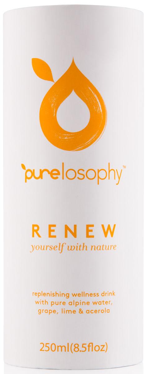 Purelosophy Renew напиток сокосодержащий ренью, 0,25 л7640135020042Purelosophy RENEW помогает организму справляться с ежедневными нагрузками. В его состав входят экстракты винограда, одуванчика, фенхеля, крапивы, алоэ, которые способствуют очищению организма от токсинов, выведению молочной кислоты после физических нагрузок и ускорению мышечного восстановления.