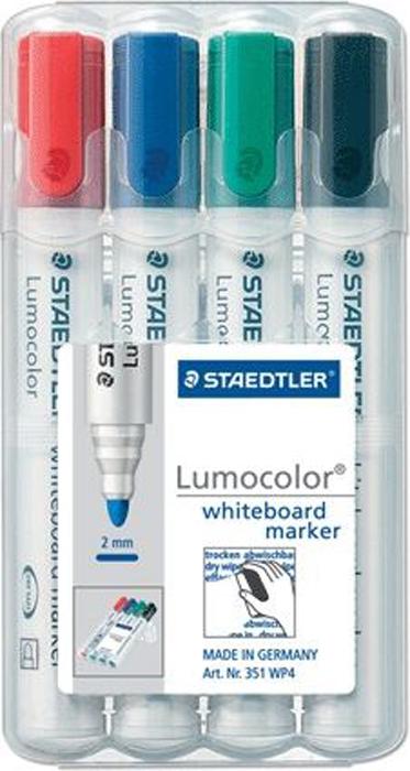 Staedtler Набор маркеров для доски Lumocolor 4 цвета 351 WP4150691Высококачественные маркеры для белой магнитно-маркерной доски. Не высыхают с открытым колпачком в течение нескольких дней. Чернила легко стираются с доски стирателем для магнитно-маркерной доски. Даже при сильном нажатии пишущий узел остается на месте.