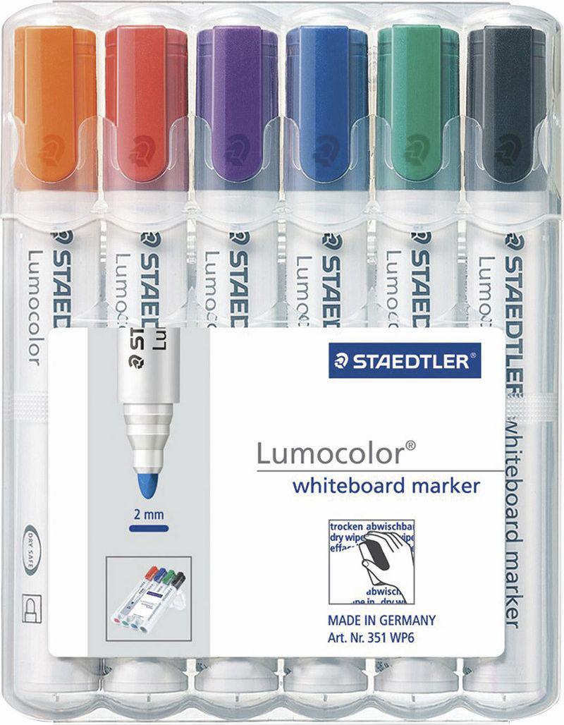Staedtler Набор маркеров для доски Lumocolor 6 цветов 351 WP6 -  Маркеры