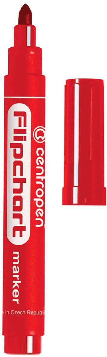 Centropen Маркер для флипчарта цвет красный 8550/1К151124Маркер предназначен для письма на бумажной доске или бумаге. Чернила без запаха имеют водную основу, на бумаге не расплываются. Срок действия открытого маркера - одна неделя.