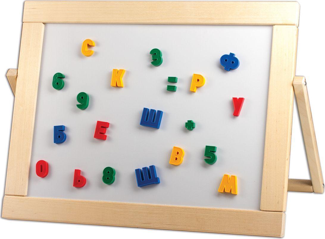Предназначена для детских учебных заведений. Доска имеет 2 рабочие поверхности: одна для мела, вторая - для маркеров на водной основе и крепления магнитов. В комплекте: мел, маркер, магнитные буквы и цифры.