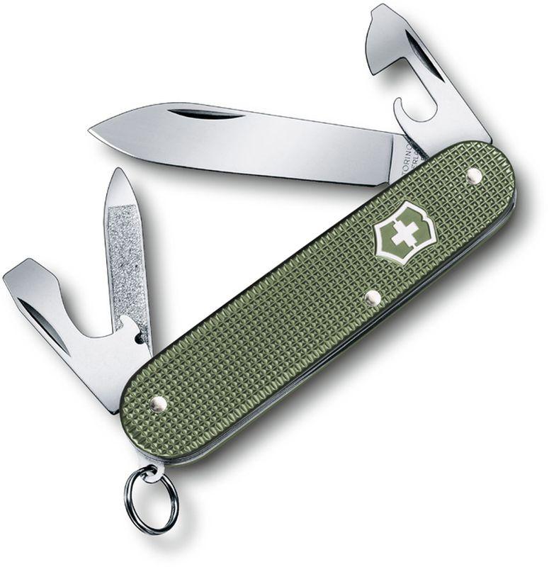 Нож перочинный Victorinox Cadet Alox, длина 8,4 см0.2601.L17Лимитированная серия Alox в этом году запущена в третий раз, и в ее состав вошли 3 модели карманных ножей: Classic (58 мм), Cadet (84 мм) и Pioneer (93 мм).Характерной чертой серии 2017 года является оливково-зелёный цвет рукояти. Накладки Alox штампуются из алюминия, после чего подвергаются чеканке и анодной обработке.Метод анодирования алюминия предполагает создание защитного слоя рукояти путём анодного окисления металла. Этот окисный слой имеет твердую структуру и дополнительно защищает накладки от повреждений и коррозии. Три представленных модели будут ежегодно выпускаться в новом цвете. Срок действия каждой серии ограничен одним годом, обозначение которого гравируется на задней стороне карманного ножа.Швейцарский армейский нож CADET ALOX имеет 9 функций:1. Лезвие2. Пилка для ногтей с:3. - Инструментом по уходу за ногтями4. Консервный нож с:5. - Малой отвёрткой6. Открывалка для бутылок с:7. - Отвёрткой8. - Инструментом для снятия изоляции9. Кольцо для ключейЦвет: оливково-зелёныйРекомендуемые чехлы: 4.0480.1, 4.0480.3Рекомендуемые аксессуары:Инструмент для заточки: 4.3311, 4.3323Держатели на ремень: 4.1853, 4.1858, 4.1859, 4.1860Цепочки длинные: 4.1813, 4.1814, 4.1815Цепочки короткие: 4.1820Комбинированные цепочки: 4.1854Шнурок с карабином: 4.1879