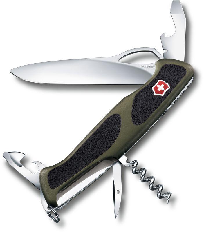 Нож перочинный Victorinox RangerGrip 61, длина 13 см0.9553.MC4Перочинный нож RANGERGRIP 61 имеет 11 функций:1. Фиксирующееся лезвие с петлёй для открывания одной рукой2. Консервный нож с:3. – Малой отвёрткой4. Открывалка для бутылок с:5. – Фиксирующейся отвёрткой6. – Инструментом для снятия изоляции7. Шило, кернер8. Штопор9. Кольцо для ключей10. Пинцет11. ЗубочисткаЦвет рукояти: зелёный/чёрныйРекомендуемые аксессуары:Инструмент для заточки: 4.3311, 4.3323, 4.0567.32Держатели на ремень: 4.1853, 4.1858, 4.1859, 4.1860Цепочки длинные: 4.1813, 4.1814, 4.1815Цепочки короткие: 4.1820Комбинированные цепочки: 4.1854Шнурок с карабином: 4.1879Масло смазочное: 4.3301