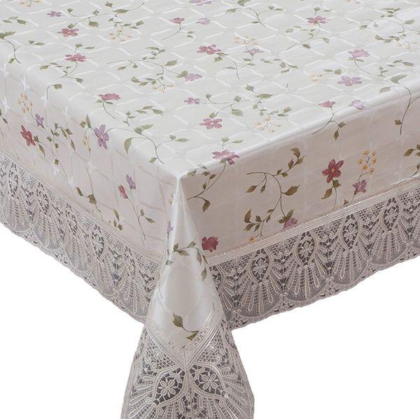 Скатерть Meiwa, прямоугольная, цвет: бежевый, розовый, 152 х 228 см. FPLUS-167 AZ BE/PK скатерти white fox скатерть party standart пвх с основой из флиса 152 228 см