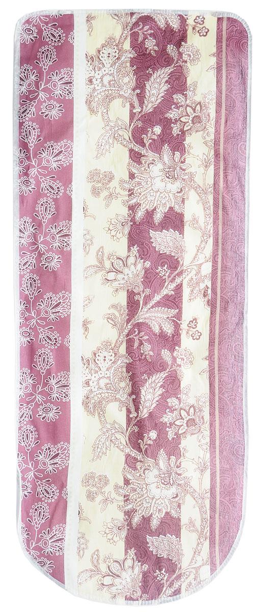 """Чехол для гладильной доски """"Eva"""", с поролоном, на резинке, цвет: бордовый, бежевый, белый, 119 х 37 см"""