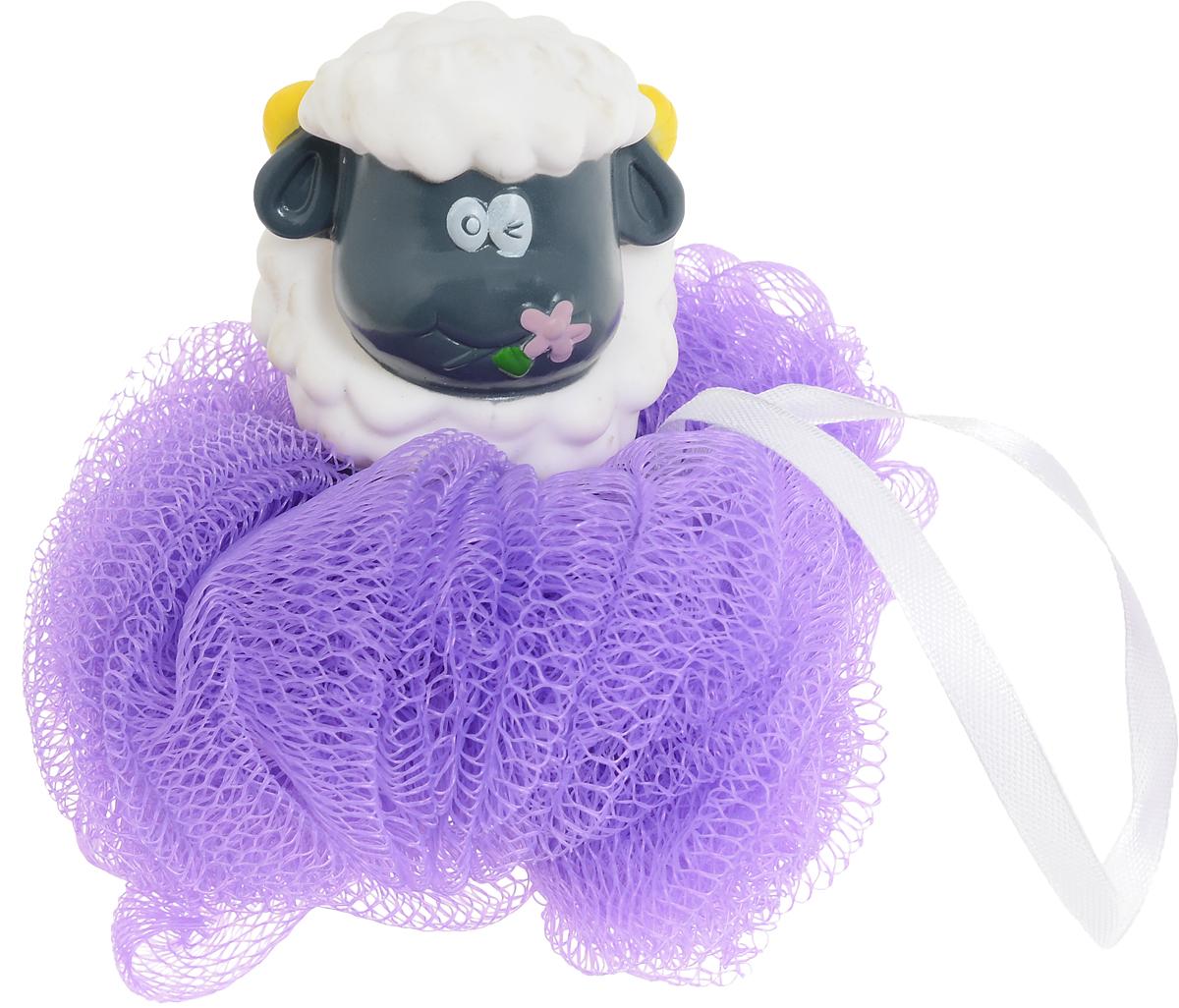 BioCos Мочалка для тела с игрушкой-гелем для душа Барашек, цвет сиреневый