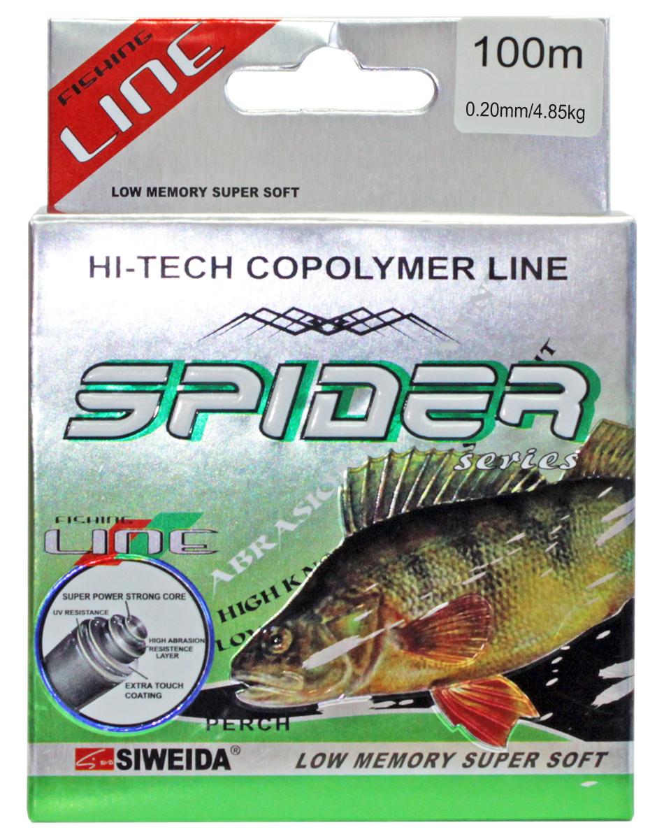 Леска SWD Spider Perch, цвет: серый, длина 100 м, сечение 0,2 мм, нагрузка 4,85 кг5251202Монофильная леска высшего качества сечением 0,20 мм (разрывная нагрузка 4,85 кг) в размотке по 100 м (индивидуальная упаковка). Не имеет механической памяти. Отличается повышенной прочностью на узле, высокой сопротивляемостью к истиранию и воздействию ультрафиолетовых лучей. Цвет - серый. Рекомендуется для ловли окуня.