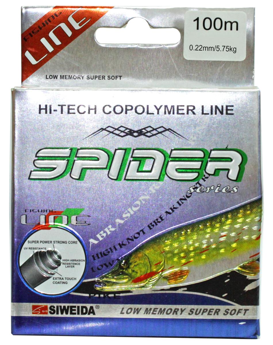 Леска SWD Spider Pike, цвет: зеленый, длина 100 м, сечение 0,22 мм, нагрузка 5,75 кг5252222Монофильная леска высшего качества сечением 0,22 мм (разрывная нагрузка 5,75 кг) в размотке по 100 м (индивидуальная упаковка). Не имеет механической памяти. Отличается повышенной прочностью на узле, высокой сопротивляемостью к истиранию и воздействию ультрафиолетовых лучей. Цвет - зеленый. Рекомендуется для ловли щуки.