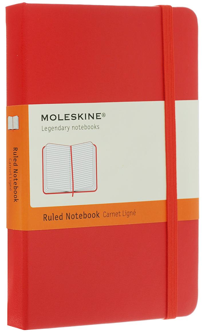 Moleskine Блокнот Classic Pocket 192 страницы в линейку цвет красный385212Простой, но уже ставший классикой блокнот в линейку размера pocket является одним из самых популярных изделий Moleskine. Как и его черный аналог, уже ставший бестселлером, он выполнен во влагостойкой обложке с закругленными углами, закладкой, эластичной застежкой и вместительным внутренним карманом, куда вложена карточка с историей Moleskine.