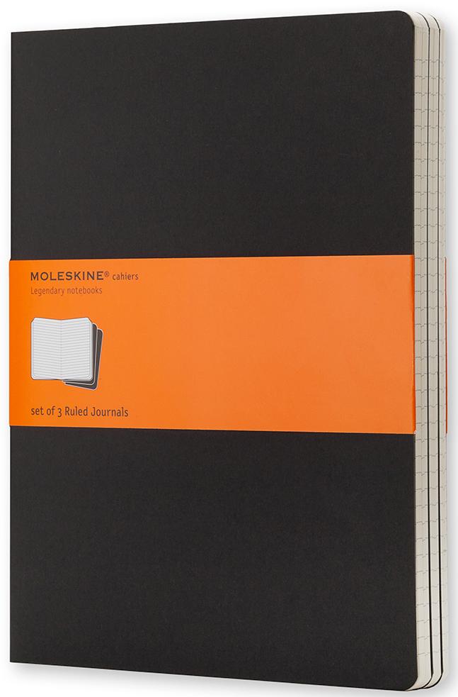 Блокнот Moleskine Cahier (в линейку) ХLarge черная 3 шт
