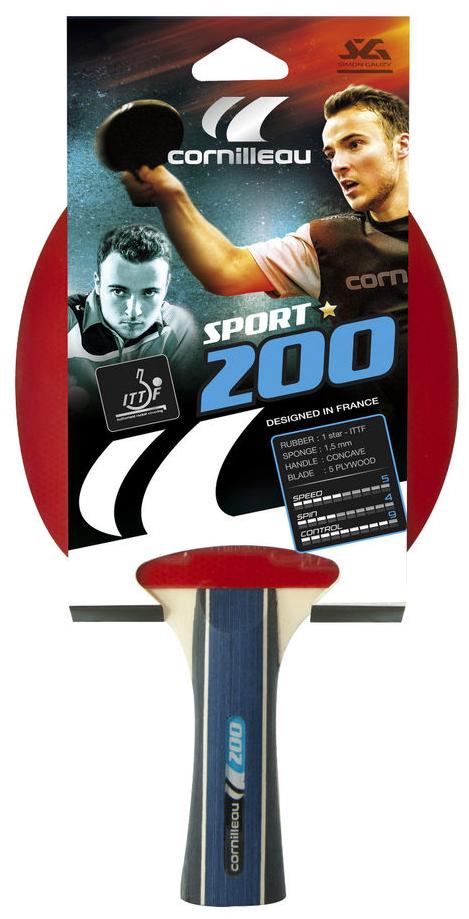 Ракетка для настольного тенниса Cornilleau Sport 200 Gatien432300Одобренная ITTF ракетка Sport 200 от всемирно известного производителя Cornilleau идеально подойдет для знакомства с азами настольного тенниса. Она станет лучшим выбором, если нужно купить ракетку для тенниса с контролем 9 баллов, а показателями скорости и вращения – по 8 баллов. Слегка расклешенная ручка будет удобна как детям, так и взрослым. Она не скользит и имеет анатомически правильную форму. Толщина губки у модели составляет 1, 5 миллиметра. Тренировочная ракетка для начинающих, с максимальным контролем. Идеальный выбор для знакомства с настольным теннисом.