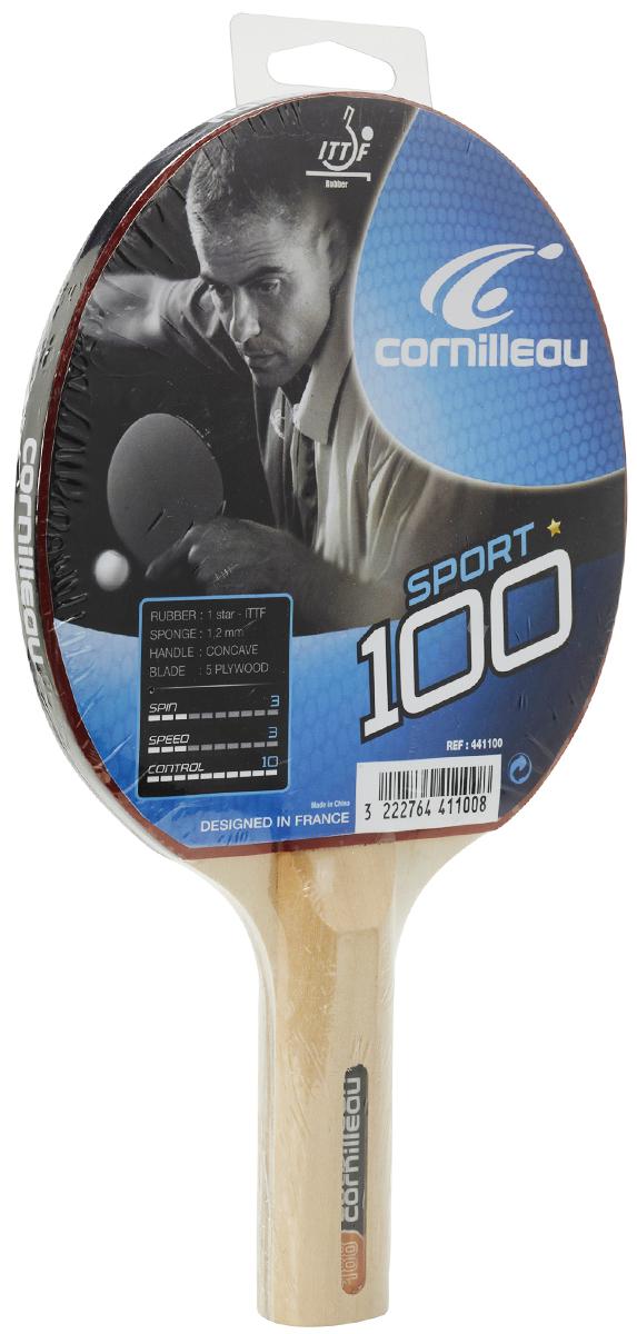 Ракетка для настольного тенниса Cornilleau Sport 100 Gatien441100Ракетка Sport 100 от всемирно известного производителя Cornilleau идеально подойдет для знакомства с азами настольного тенниса. Она станет лучшим выбором, если нужно купить ракетку для тенниса с контролем 9 баллов, а показателями скорости и вращения – по 8 баллов. Слегка расклешенная ручка будет удобна как детям, так и взрослым. Она не скользит и имеет анатомически правильную форму. Толщина губки у модели составляет 1, 5 миллиметра. Тренировочная ракетка для начинающих, с максимальным контролем. Идеальный выбор для знакомства с настольным теннисом.