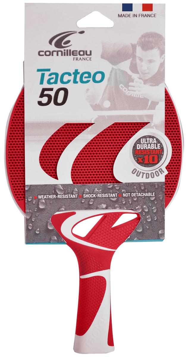 Ракетка для настольного тенниса всепогодная Cornilleau Tacteo 50, цвет: красный, серый